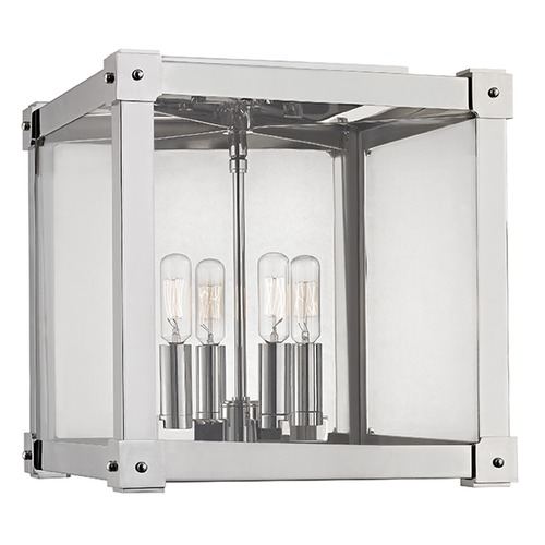 Hudson Valley Lighting Forsyth 4 Light Flushmount Light Square Shade - Polished Nickel 8600-PN