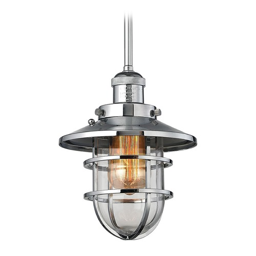 Elk Lighting Elk Lighting Seaport Polished Chrome Mini-Pendant Light with Bowl / Dome Shade 66344/1