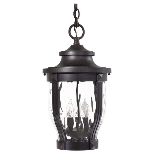Minka Lavery Outdoor Hanging Light with Clear Glass in Corona Bronze Finish 8764-166