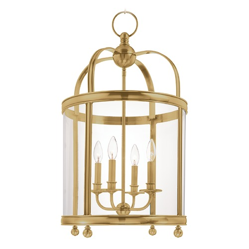 Hudson Valley Lighting Pendant Light with Clear Glass in Aged Brass Finish 7816-AGB