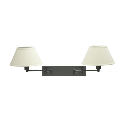 House of Troy Lighting Swing Arm Lamp with White Shades in Oil Rubbed Bronze Finish WS14-2-91