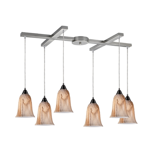 Elk Lighting Modern Multi-Light Pendant Light with Alabaster Glass and 6-Lights 31138/6