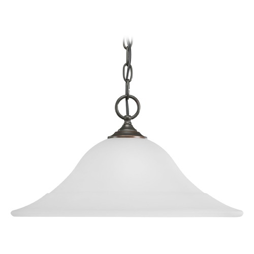 Progress Lighting Progress Pendant Light with White Glass in Antique Bronze Finish P5095-20