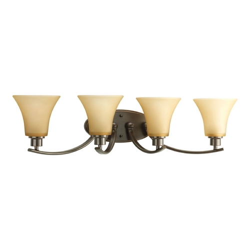 Progress Lighting Progress Bathroom Light with Brown Glass in Antique Bronze Finish P2003-20