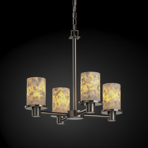 Justice Design Group Justice Design Group Alabaster Rocks! Collection Mini-Chandelier ALR-8510-10-NCKL