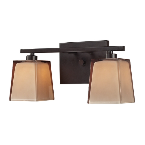 Elk Lighting Bathroom Light with Brown Glass in Oiled Bronze Finish 11437/2