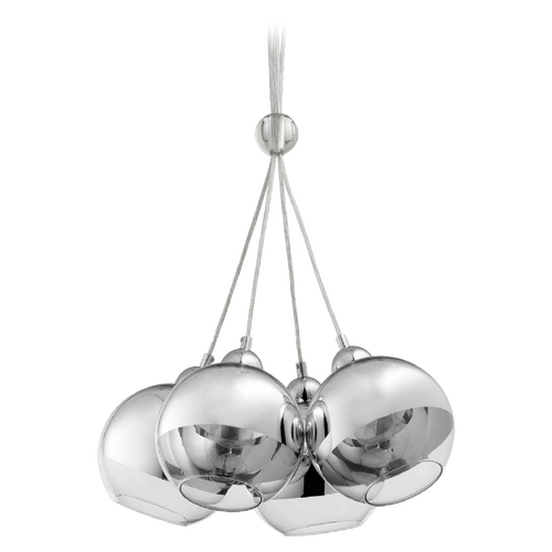 Quorum Lighting Quorum Lighting Chrome Pendant Light with Globe Shade 811-4-14