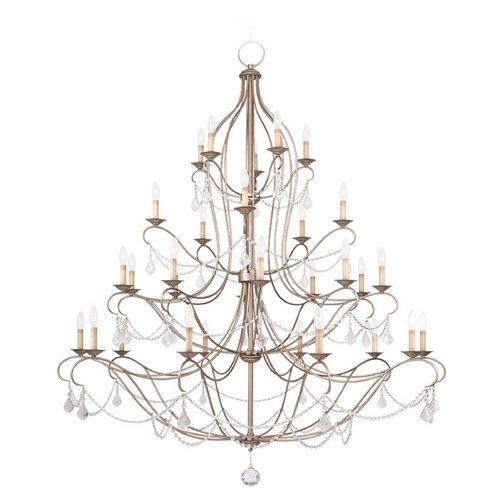 Livex Lighting Livex Lighting Chesterfield Antique Silver Leaf Crystal Chandelier 6459-73