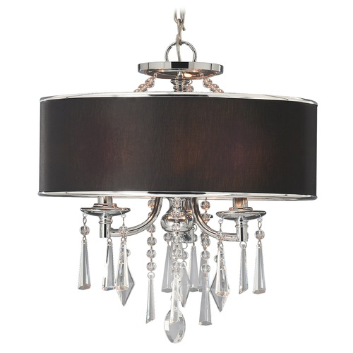 Golden Lighting Golden Lighting Echelon Chrome Pendant Light with Drum Shade 8981-SF GRM