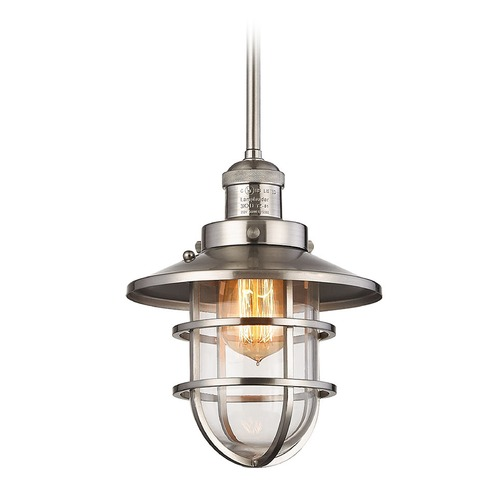 Elk Lighting Elk Lighting Seaport Satin Nickel Mini-Pendant Light with Bowl / Dome Shade 66354/1