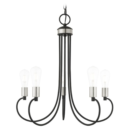 Livex Lighting Livex Lighting Bari Black with Brushed Nickel Accents Chandelier 42925-04