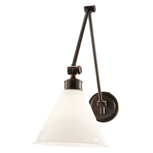Hudson Valley Lighting Swing Arm Lamp with White Glass in Old Bronze Finish 4731-OB