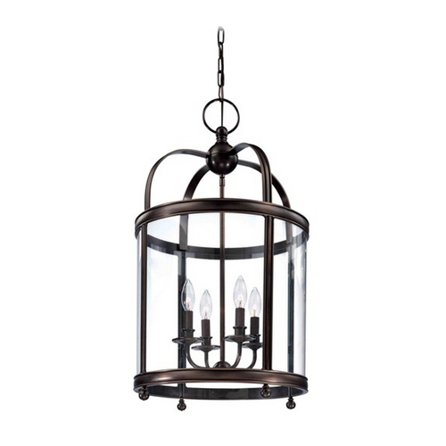 Hudson Valley Lighting Pendant Light with Clear Glass in Distressed Bronze Finish 7816-DB