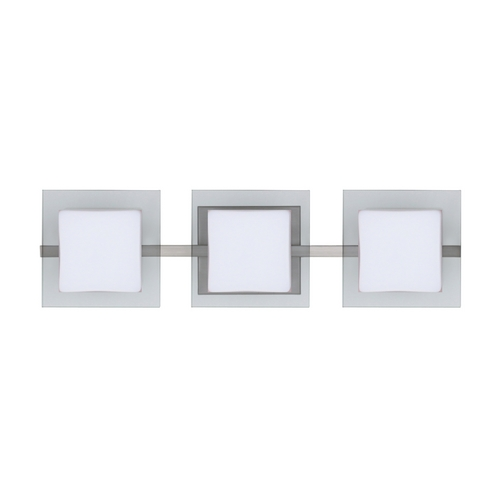 Besa Lighting Modern Bathroom Light with White Glass in Satin Nickel Finish 3WS-773539-SN