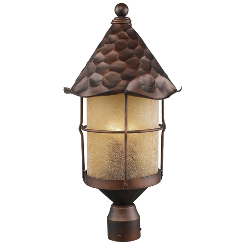 Elk Lighting Post Light with Beige / Cream Glass in Antique Copper Finish 389-AC
