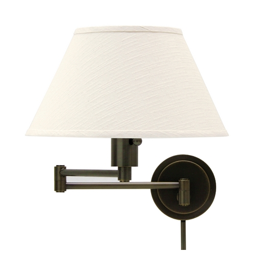 House of Troy Lighting Swing Arm Lamp with White Shade in Oil Rubbed Bronze Finish WS14-91