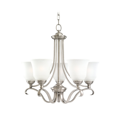 Sea Gull Lighting Chandelier with White Glass in Antique Brushed Nickel Finish 39380BLE-965