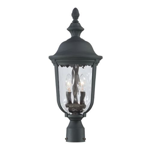 Minka Lavery Post Light with Clear Glass in Black Finish 8995-66