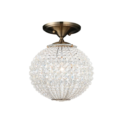 Crystorama Lighting Crystal Semi-Flushmount Light in Antique Brass Finish 6750-AB