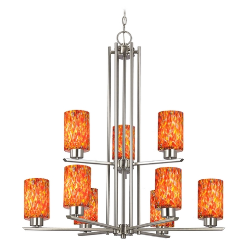 Design Classics Lighting Chandelier with Art Glass in Satin Nickel - 9-Lights 1122-1-09 GL1012C