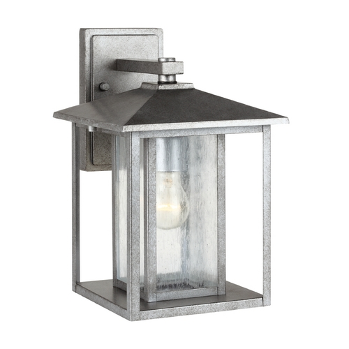 Sea Gull Lighting Outdoor Wall Light with Clear Glass in Weathered Pewter Finish 88027-57