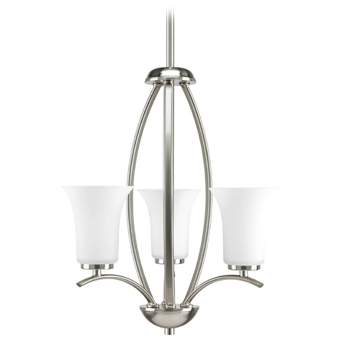 Progress Lighting Progress Chandelier with White Glass in Brushed Nickel Finish P3587-09
