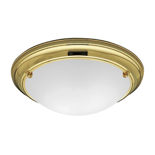 Progress Lighting Progress Flushmount Light with White Glass in Polished Brass Finish P3561-10