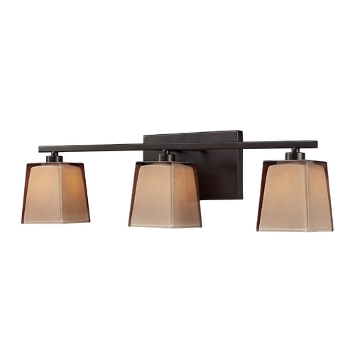 Elk Lighting Bathroom Light with Brown Glass in Oiled Bronze Finish 11438/3