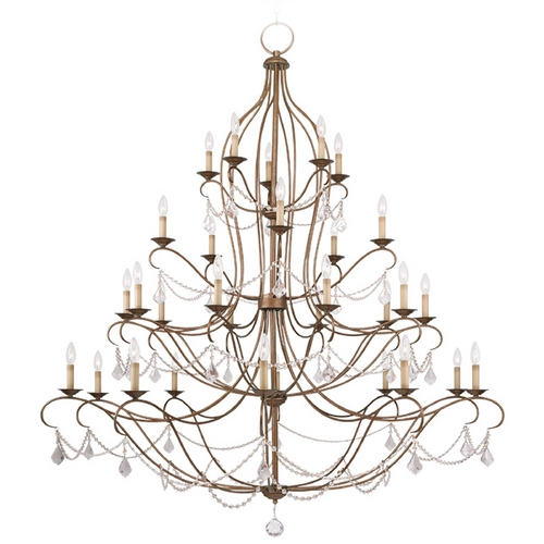 Livex Lighting Livex Lighting Chesterfield Antique Gold Leaf Crystal Chandelier 6459-48