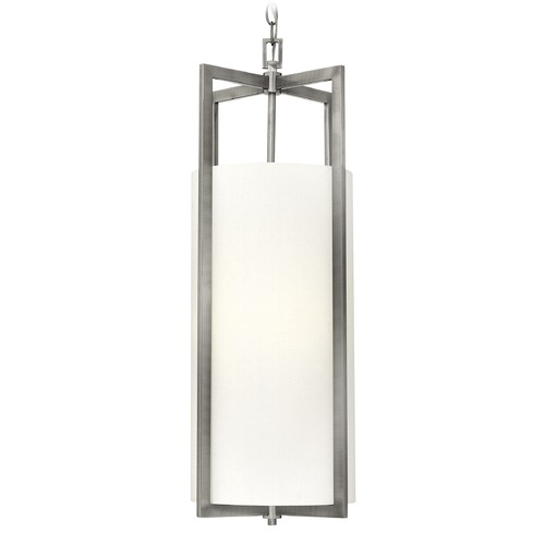 Hinkley Lighting Hinkley Lighting Hampton Antique Nickel LED Pendant Light with Cylindrical Shade 3212AN-LED