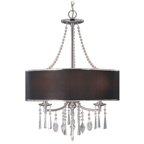 Golden Lighting Golden Lighting Echelon Chrome Pendant Light with Drum Shade 8981-3P GRM