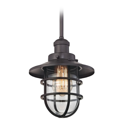 Elk Lighting Elk Lighting Seaport Oil Rubbed Bronze Mini-Pendant Light with Bowl / Dome Shade 66364/1