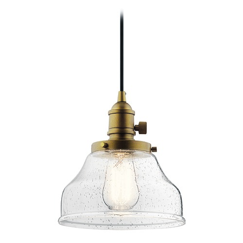 Kichler Lighting Kichler Lighting Avery Natural Brass Mini-Pendant Light with Bowl / Dome Shade 43850NBR