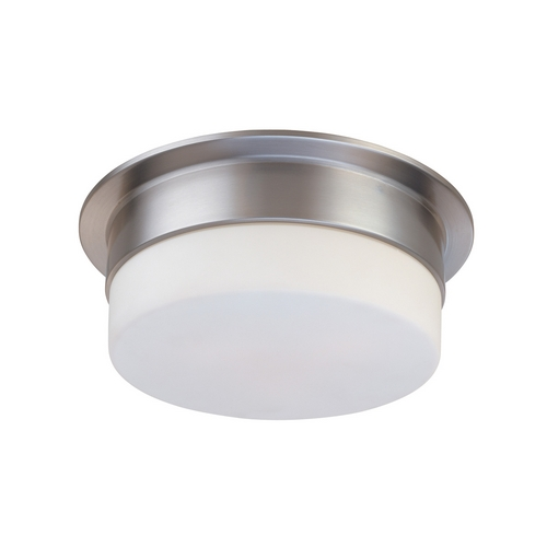 Sonneman Lighting Modern Flushmount Light with White Glass in Satin Nickel Finish 3741.13
