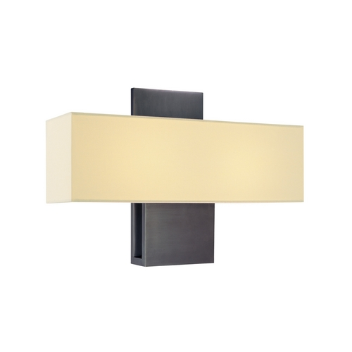 Sonneman Lighting Modern Sconce Wall Light with White Shade in Rubbed Bronze Finish 1861.24F
