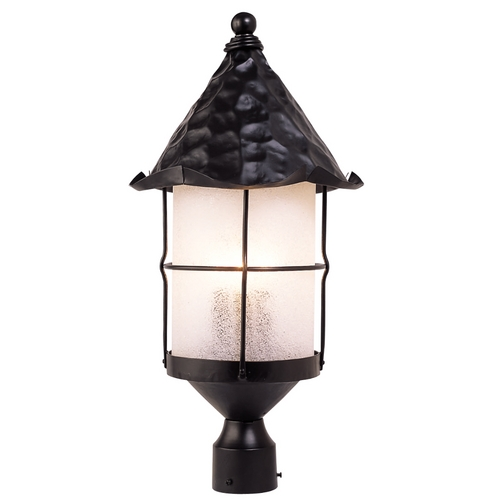 Elk Lighting Post Light with Beige / Cream Glass in Matte Black Finish 389-BK