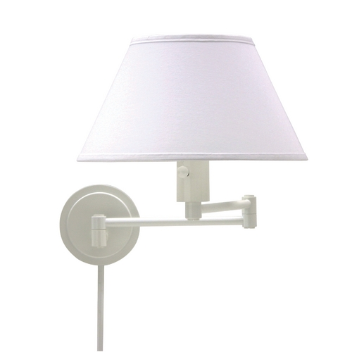 House of Troy Lighting Swing Arm Lamp with White Shade in White Finish WS14-9