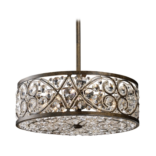 Elk Lighting Pendant Light with Clear Glass in Antique Bronze Finish 11287/6