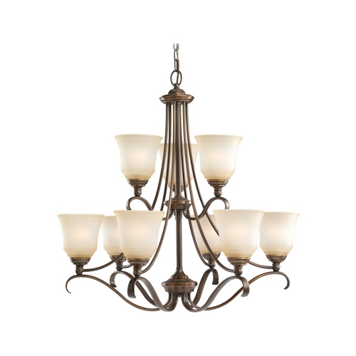 Sea Gull Lighting Chandelier with Beige / Cream Glass in Russet Bronze Finish 39381BLE-829