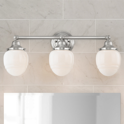Design Classics Lighting Schoolhouse Bathroom Light Satin Nickel White Opal Glass 3 Light 21.875 Inch Length WC3-09 GG5