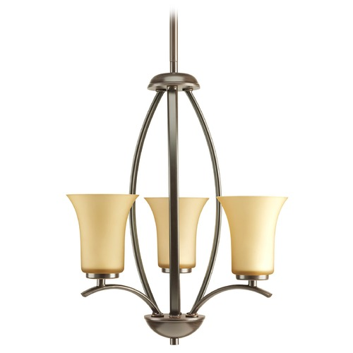 Progress Lighting Progress Chandelier with Brown Glass in Antique Bronze Finish P3587-20