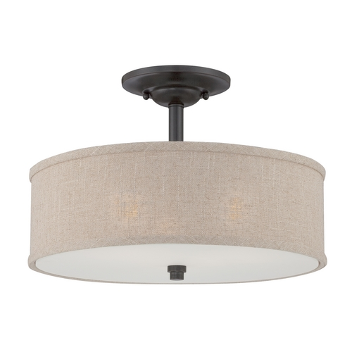 Quoizel Lighting Modern Semi-Flushmount Light in Mottled Cocoa Finish CRA1717MC