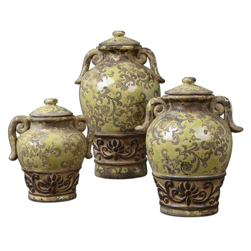 Uttermost Lighting Uttermost Gian Crackled Green Containers, Set/3 19716