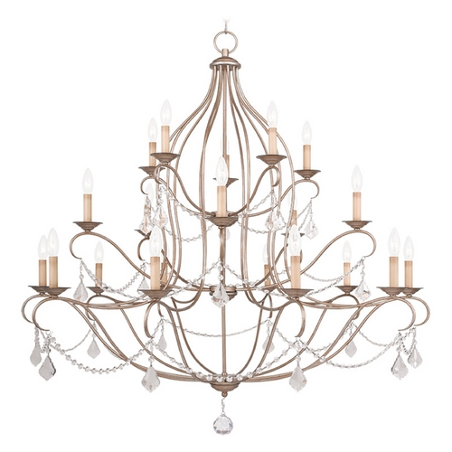 Livex Lighting Livex Lighting Chesterfield Antique Silver Leaf Crystal Chandelier 6439-73