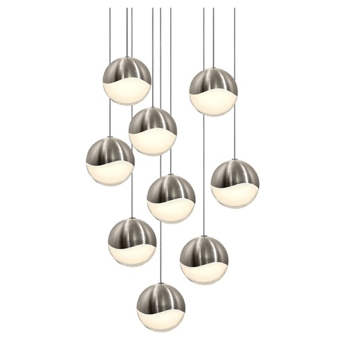 Sonneman Lighting Sonneman Grapes Satin Nickel 9 Light LED Multi-Light Pendant   2916.13-LRG