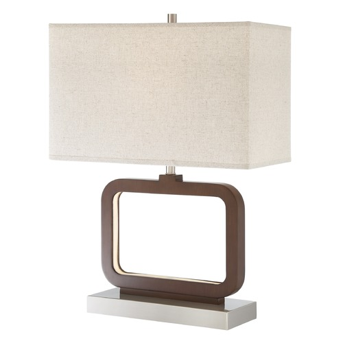 Lite Source Lighting Lite Source Leonard Walnut Table Lamp with Rectangle Shade LS-23021