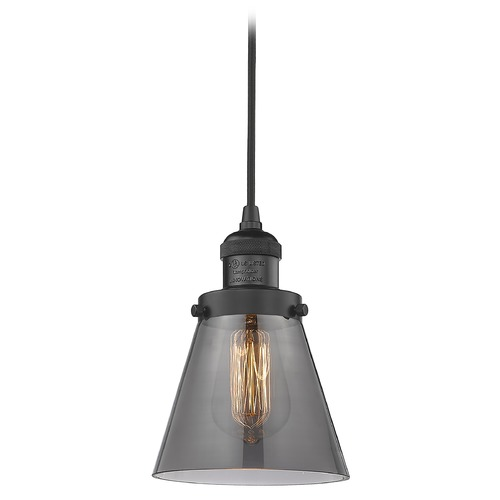 Innovations Lighting Innovations Lighting Small Cone Matte Black Mini-Pendant Light with Conical Shade 201C-BK-G63