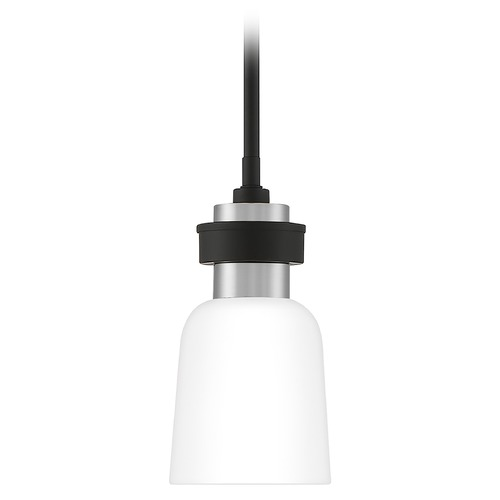 Quoizel Lighting Quoizel Lighting Conrad Matte Black with Brushed Nickel Mini-Pendant Light with Bowl / Dome Shade CRD1505BN