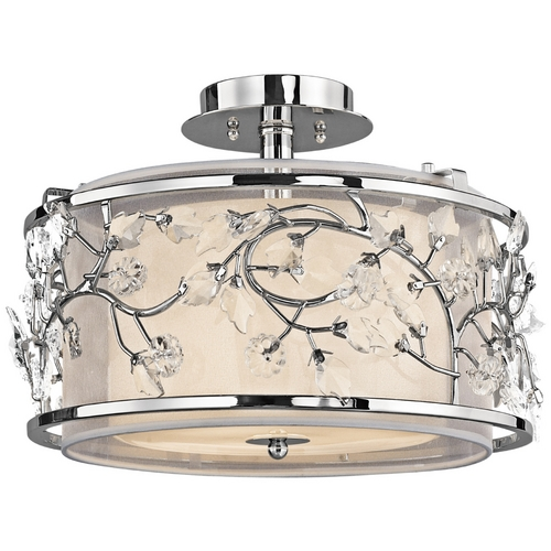 Kichler Lighting Kichler Semi-Flushmount Light with White Glass in Chrome Finish 42306CH