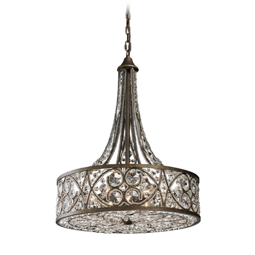 Elk Lighting Pendant Light with Clear Glass in Antique Bronze Finish 11288/6